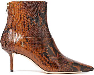 Jimmy Choo Beyla 65 Snake-effect Leather Ankle Boots