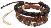 1670 Three-Piece Leather and Wood Bracelet Set