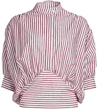 By Any Other Name Velvet Pinstripe Cummerbund Cotton Blouse