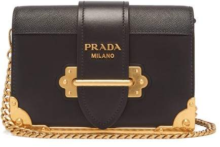 Prada Cahier Leather Cross Body Bag - Womens - Black