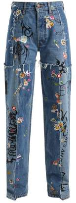 Vetements Sticker Mid-rise Straight-leg Jeans - Womens - Light Blue