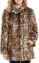 Eliza J Faux Fur Leopard Print Coat