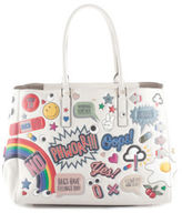 Anya Hindmarch White Leather All Over Stickers Maxi Tote Handbag Spring 2015