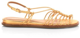 Joie Estin Knotted Metallic Leather Slingback Sandals