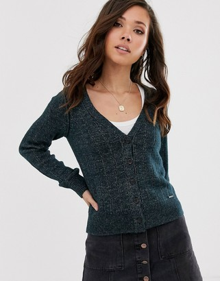 Abercrombie & Fitch chenille knit cardigan-Navy