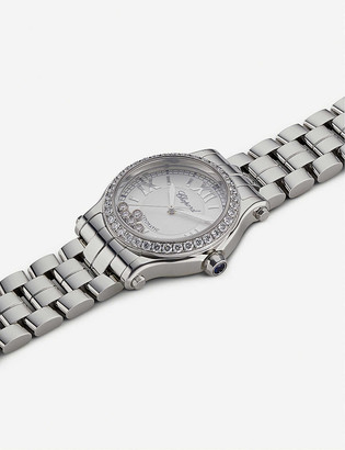 Chopard 278573-3004 Happy sport stainless steel and diamond watch