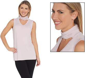 Peace Love World Tank with Banded Keyhole Neck