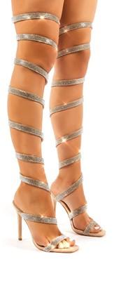 Public Desire Uk Stunner Diamante Thigh High Spiral Wrap Around Stiletto High Heels