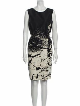Oscar de la Renta Printed Knee-Length Dress Black