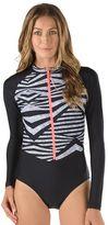 Speedo Women's Striped Long-Sleeved One-Piece Swimsuit