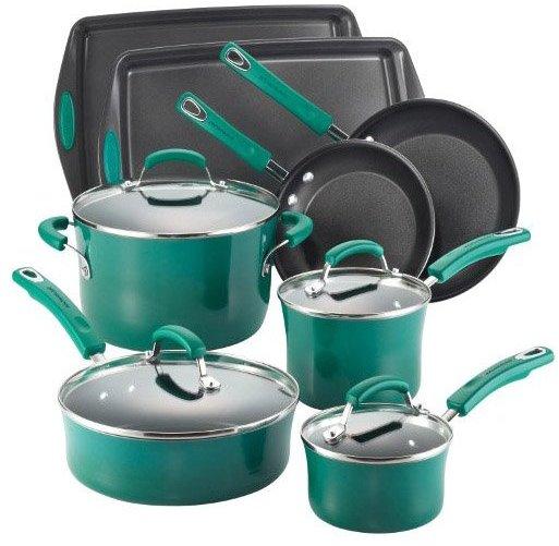 Rachael Ray 12-pc Cookware Set w/ Bakeware, Dark Green