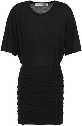 IRO Speedy Braid-trimmed Ruched Jersey Mini Dress