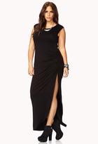 Forever 21 FOREVER 21+ Elegant Ruched Slit Maxi Dress