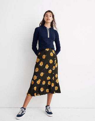 Madewell Side-Button Ruffle-Hem Midi Skirt in Fall Flowers