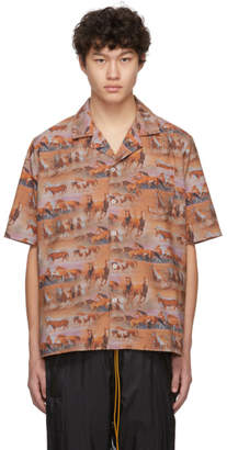 Rhude Orange Horses Printed Shirt