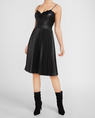Express Vegan Leather Lace Trim Pleated Dress