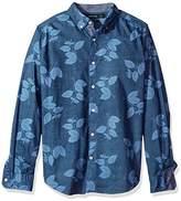Nautica Men's Long Sleeve Leaf Print Button Down Shirt