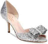 Kate Spade Sela Glitter Open-Toe Pumps