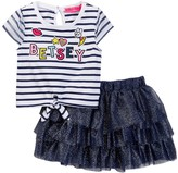 Betsey Johnson Striped Tie Front Tee & Tulle Tutu Skirt Set (Toddler Girls)