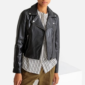 La Redoute Collections Leather Fitted Biker Jacket