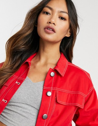 NATIVE YOUTH oversized denim jacket in red