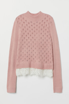 H&M Fine-knit Sweater with Lace