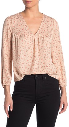 Madewell Floral V-Neck 3/4 Sleeve Satin Top