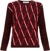 Pringle Red Embossed Argyle Cashmere Sweater