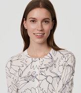 LOFT Petite Sketched Floral Signature Cotton Cardigan