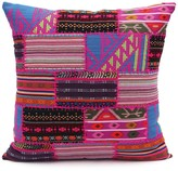 Karma Living Patch & Velvet Pompom Hand-Loomed Wool Pillow - Multi