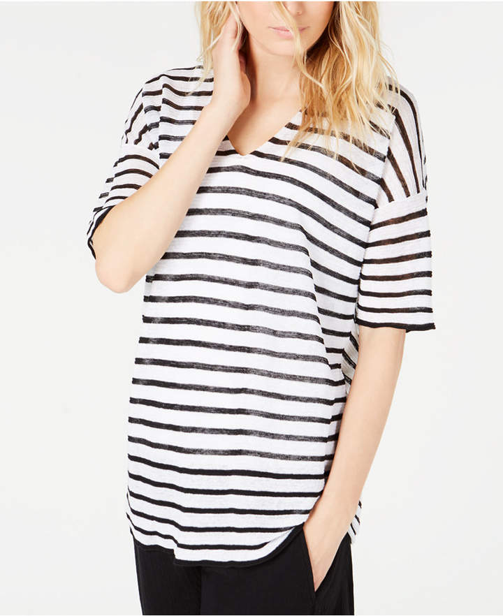 Eileen Fisher V-Neck Striped Top