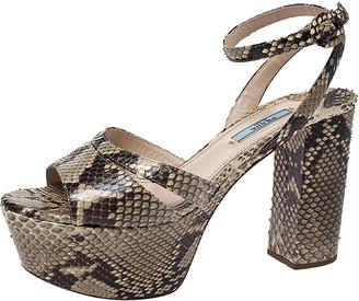 Prada Python Leather Platform Ankle Strap Block Heel Sandals Size 39