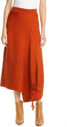 Jonathan Simkhai Grace Fringe Asymmetrical Wool Skirt
