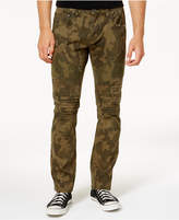 INC International Concepts Men's Slim-Fit Stretch Camo Moto Jeans, Created for Macy's