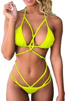 ESONLAR Woman's Summer Sexy 2 Pieces Bikini Criss Cross Beachwear Set S