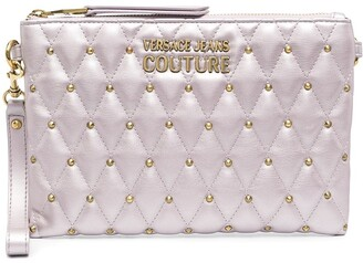 Versace Jeans Couture Metallc-Tone Studded Clutch Bag