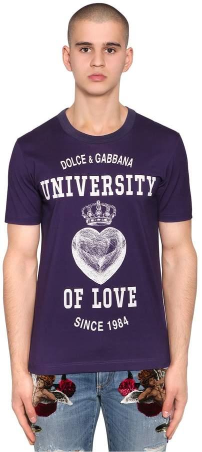 Dolce & Gabbana University Of Love Print Jersey T-Shirt