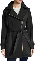 Via Spiga Quilted-Panel Asymmetric-Zip Coat w/ Removable Hood, Black