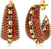 Miguel Ases Burnt Orange and Gold Marquise Small Hoop Earrings