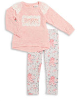 Little Lass Baby Girls Lace Knit Sweater and Floral Leggings Set