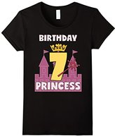 Men's Birthday Girl Shirt For 7 Seven Year Old Princess Crown Wand 3XL