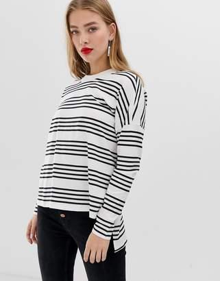Noisy May stripe high low long sleeve t-shirt-Multi