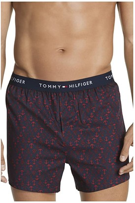 Tommy Hilfiger Cotton Classics 3-Pack Slim Fit Woven Boxer (Navy Anchor Print/Multi Plaid/Pompeian Red Plaid) Men's Underwear