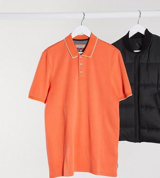Ted Baker Tall collar detail polo in burnt orange
