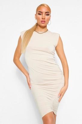 boohoo Shoulder Pad Rouche Midi Dress