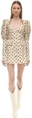 Marianna Senchina Polka Dot Printed Crepe Mini Dress