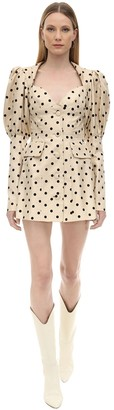 MARIANNA SENCHINA Polka Dot Printed Crepe Mini Dress