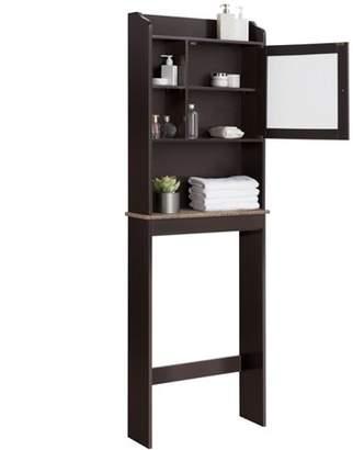 Smilemart Wooden Over Toilet Cabinet Bathroom Space Saver Storage Cabinet with Glass Door