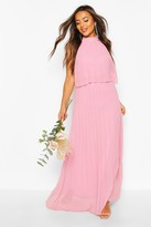 boohoo Petite Occasion Pleated Double Layer Maxi Dress