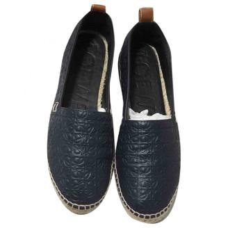 Loewe Navy Leather Espadrilles
